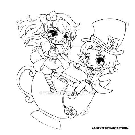 chibi lollipop girl coloring page free printable alice and the mad hatter lineart by yampuff on deviantart
