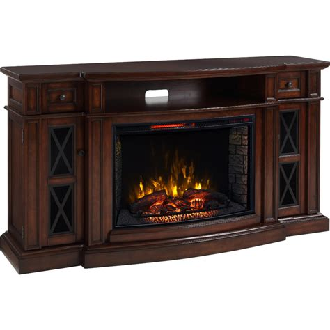 Infrared Electric Fireplace Shop Living 72 In W 5 200 Btu Chestnut Mdf Infrared Quartz Electric Fireplace With Media