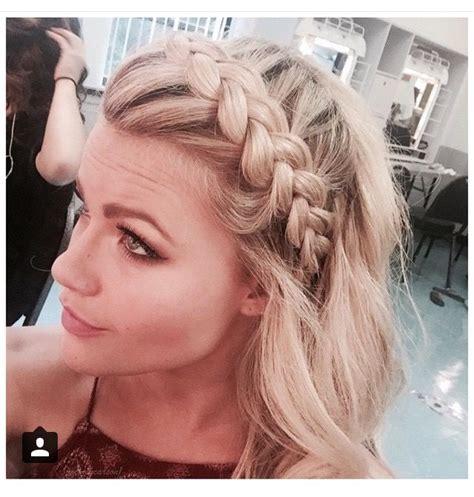 big braids with a bang witney carson big voluminous crown bang braid dwts hair