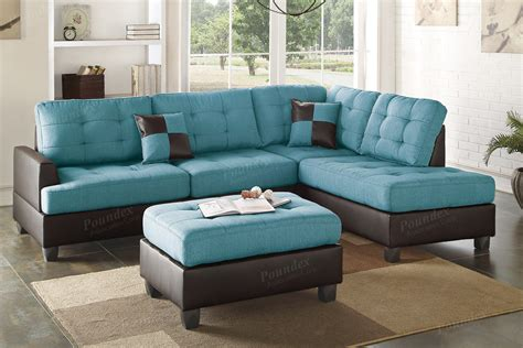 blue chair and ottoman ancel blue leather sectional sofa and ottoman steal a