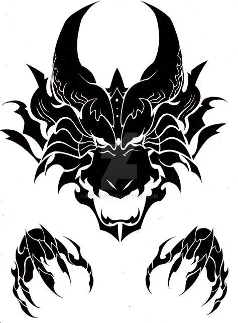 dragon head tribal by mistersd on deviantart