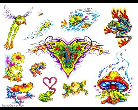 tattoo colorful designs frog tattoos