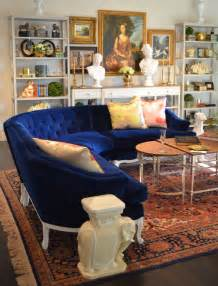 blue and white couch vintage blue velvet curved sofa from parker kennedy