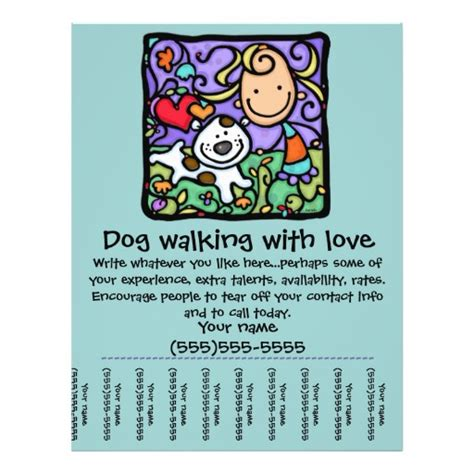 Littlegirlie Dog Walk Sitting Tear Sheet Flyer Exceptional Business Cards Pinterest Dog Walking Business Flyer Template