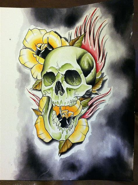 tattoo flash traditional skull tattoo yellow roses neo traditional recent photos the