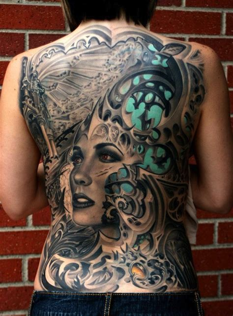 biomechanical tattoo artist in texas full back biomechanical tattoo with a woman s face