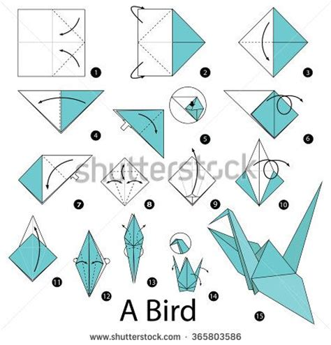 step by step how to make origami a bird 折纸