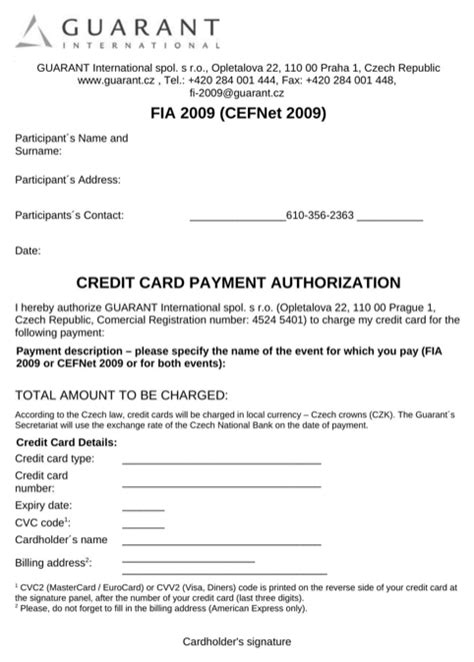 Credit Card On File Template credit card payment authorization template for