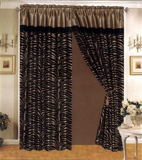 black and taupe curtains 4 pieces satin taupe black flocking zebra pattern window