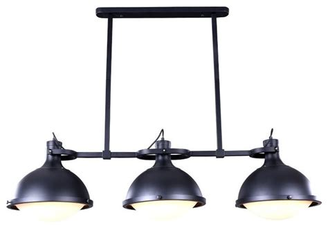 Industrial Style Island Lighting 3 Light Industrial Style Island Pendant With Iron Holder