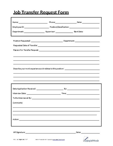 employee transfer form transfer request form sle resume template and