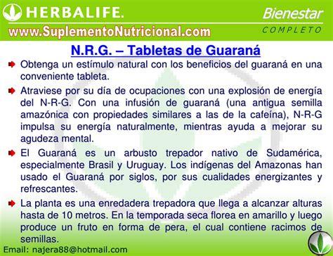 Herbalif Nrg nrg tabletas de guarana herbalife