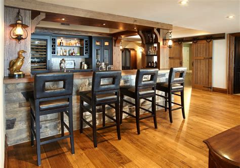 Stone bar ideas basement traditional with stacked stone walls pool table pendant lights