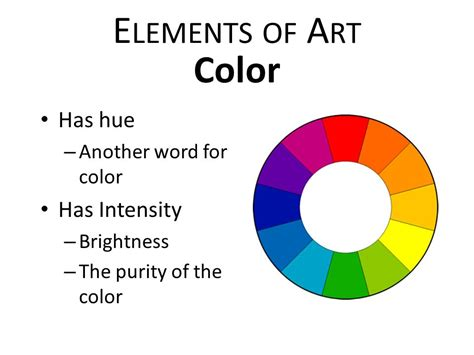another word for color elements of principles of design ppt