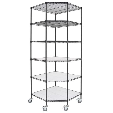 adjustable 6 tier corner unit storage steel shelf wire