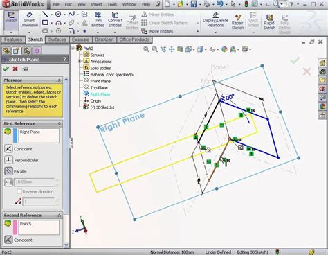 solidworks tutorial creating plane solidworks tutorial basic surface design the 3d sketch