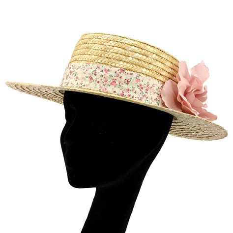 Floral Hat straw boater hat floral band flower corsage summer sun ebay
