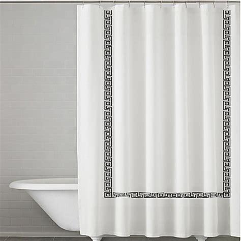 kassatex shower curtain kassatex greek key embroidered shower curtain in white