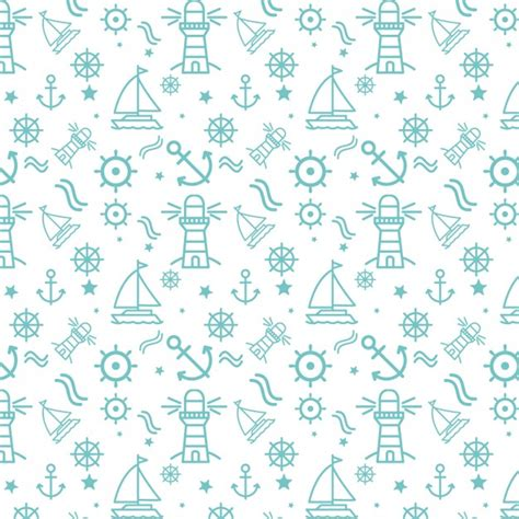 nautical pattern background nautical elements pattern vector free download