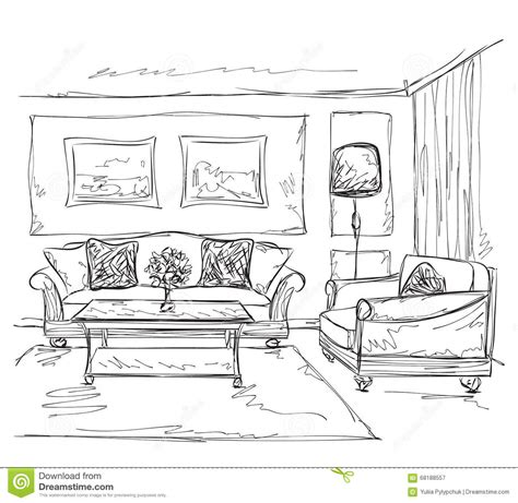 Room Interior Sketch Chair Sofa by Room Interior Sketch Sofa And Chair Stock