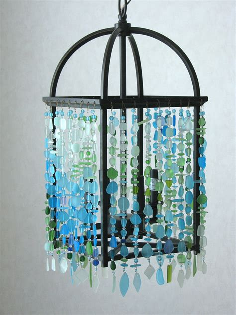 Sea Glass Chandeliers Sea Glass Ceiling Fixture Chandelier Foyer Lantern Coastal