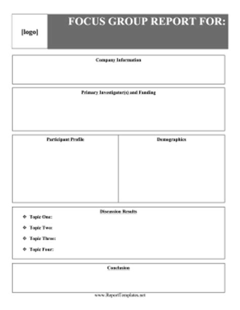focus discussion report template focus report report template