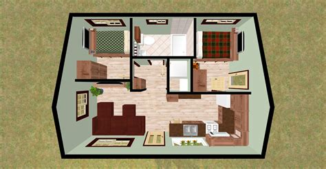 two bed room house cozyhomeplans 432 sq ft small house quot firefly quot 3d top