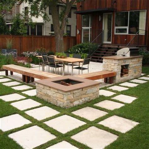 contemporary home concrete poured stepping stones patio