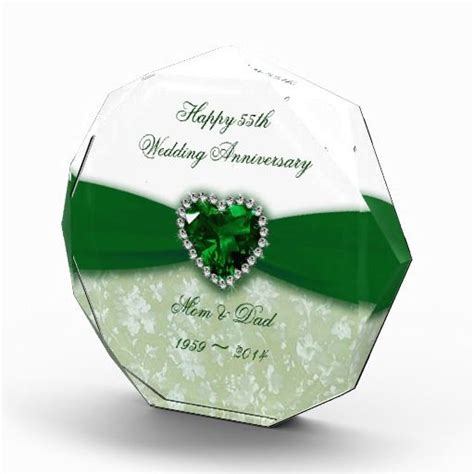 Wedding Anniversary Awards by Damask 55th Wedding Anniversary Award Emerald Wedding
