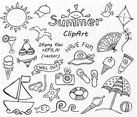 doodle summer doodle summer clipart vacation clipart digital