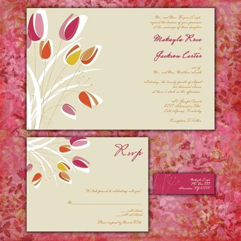 decorative mailing labels for wedding invitations modern tulips custom wedding invitation suite with rsvp