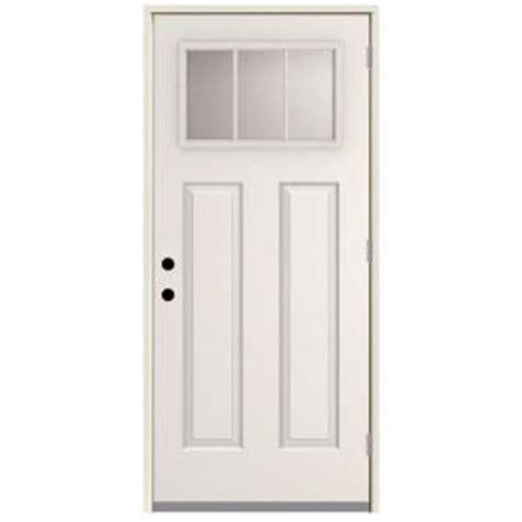 32 X 79 Exterior Door Steves Sons 32 In X 80 In 3 Lite Left Outswing Primed White Steel Prehung Front Door
