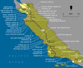 map of california coast wildernet central coast state parks and beaches