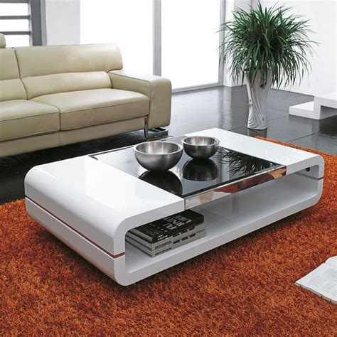 White Living Room Table Design Modern High Gloss White Coffee Table With Black Glass Top Living Room Ebay