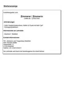 Anschreiben Bewerbung Muster Zimmermann Bewerbung Zimmerer In Ausbildung Sofort