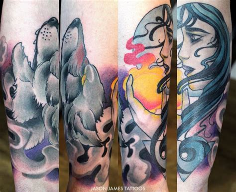tattoo neo japanese neo traditional wolf and moon women tattoo by jason james