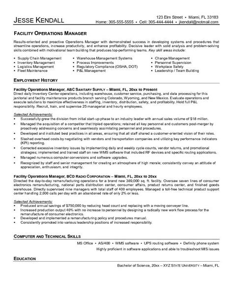 facilities manager resume sle best resume sle logistics consultant cover letter facility