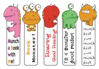 printable bookmarks activity village monster printables