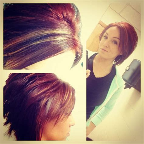 red blonde and brown highlights hair makeup pinterest shorthair redhair brownhair highlights short red and