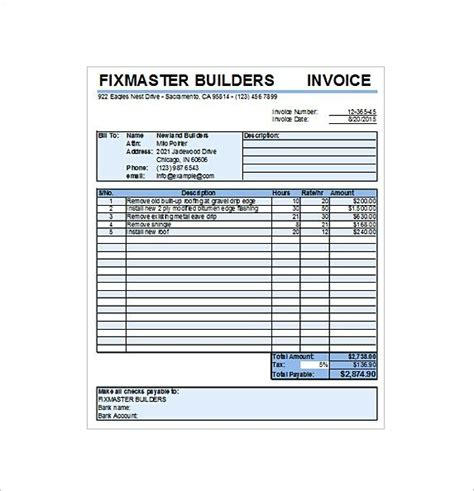 Tip Receipt Template by Roofing Contract Receipt Excel Free Free Service Invoice