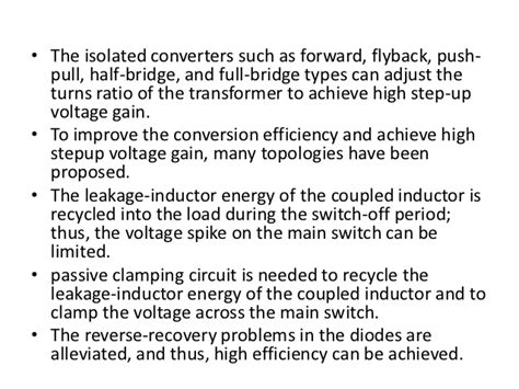 inductor leakage energy a novel high step up dc dc converter for a microgrid system