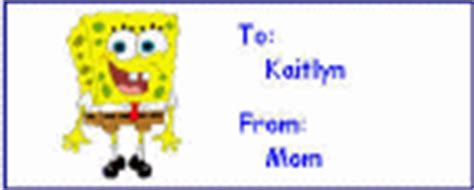 dltk printable gift tags sponge bob square pants crafts