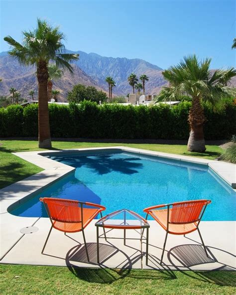 palm springs mid century modern pool and mountain view