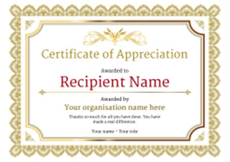 certificate of appreciation and thank you free and