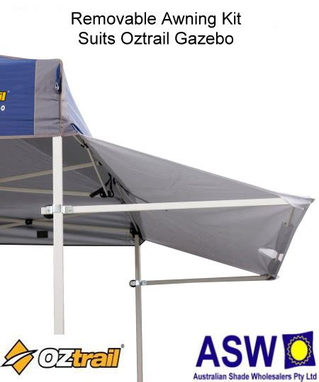 removable awning removable awning kit 2 4m oztrail gazebo the shade