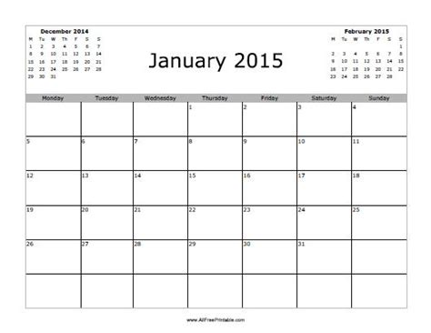 January 2015 Calendar Printable Printable 2015 January New Calendar Template Site