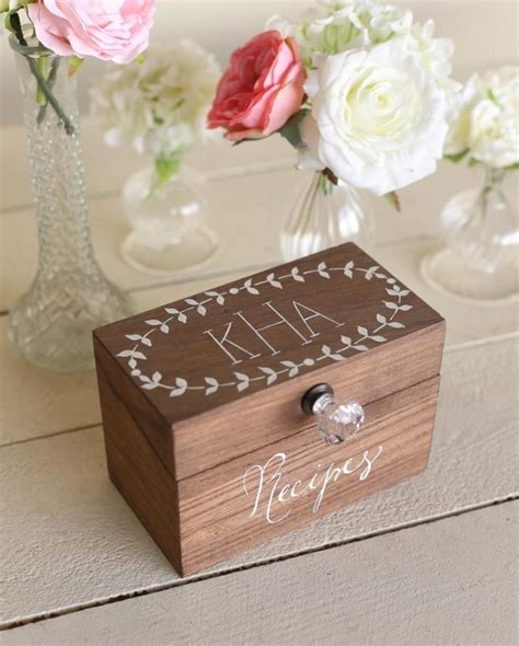 recipe bridal shower gift ideas personalized wood recipe box monogrammed bridal shower