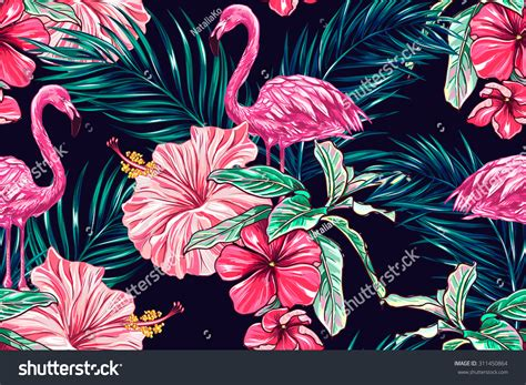 pink jungle wallpaper pink flamingos tropical flowers palm leaves stock vector