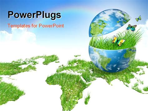 ppt themes on environment globe on a white background environmental energy concept