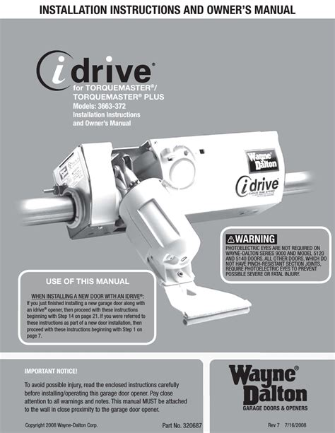 Wayne Dalton Garage Door Opener Manual by Wayne Dalton Torquemaster 3663 372 User Manual 52 Pages